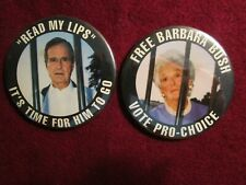 "GEORGE H BUSH & BARBARA BUSH ""READ MY LIPS""PRO-CHOICE"" POLITICAL BUTTON PIN EUC"
