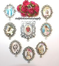 DISCOUNT LOT Rosary Parts | 8 Top Selling Blessed Mother Silver Rosary Centers
