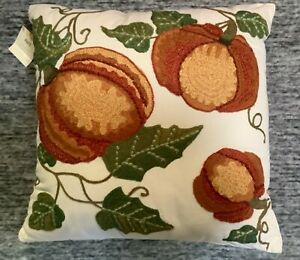 """Pier 1 Imports Harvest Fall Embroidered Pumpkin Leaves Pillow 16"""" x 16"""" Rare NWT"""