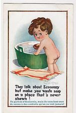 CPA Illustrateur Donald Mc Gill - BEBE BAIN SAVON ECONOMIE SOAP 1917