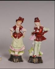 Two Porcelain Figurines Male & Female in Matching Costumes, 8 3/4 in. H