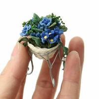 50*40mm Dollhouse Blue Mini Garden Decor Flower Pot Stand Handcrafted Kids Toy