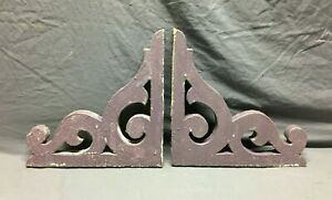 Pair Antique Gingerbread Roof Corbel Brackets Shabby VTG Purple Chic 273-21B