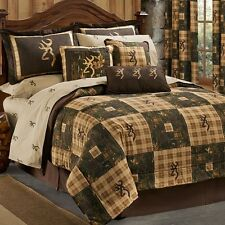 Browning Country 4 Pc Twin Quilt Comforter Bedding Set - Lodge Log Cabin Hunting