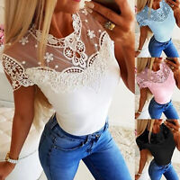 Womens Lace Crochet Short Sleeve Tops Blouse Casual Tee Slim Fit T-Shirts Summer