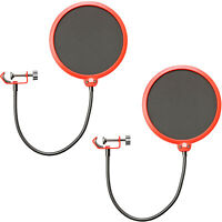 Deco Gear 2-Pack Professional Pop Filter Microphone Wind Screens with Goose Neck