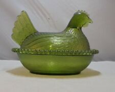 "Vintage Indiana Glass 7"" Hen on Nest Covered Trinket / Candy Dish Clear Green"