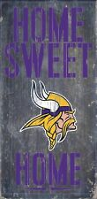 "Minnesota Vikings Home Sweet Home Wood Sign - NEW 6"" x 12"" Wall Decoration Gift"