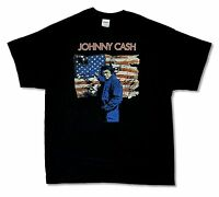 Johnny Cash Flag Black T Shirt New Official Band Music