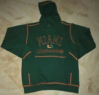 University of Miami Hurricanes Hoodie XL Green Embroidered Logos Hooded NCAA