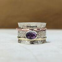 Amethyst Ring 925 Sterling Silver Spinner Ring Meditation Ring Statement A324