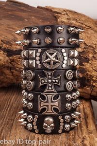 Mens Cool Punk Biker Metal Studded Genuine Leather Bracelet Wristband Cuff Black