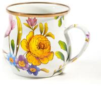 "MacKenzie-Childs Flower Market Enamel Mug - White 3.5"" tall / 16 oz."