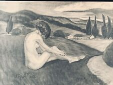 Hungarian Artist Gitta Gyenes Charcoal Drawing Seated Nude Female Signed. 1924