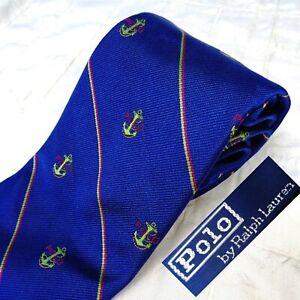 POLO by RALPH LAUREN Purple Silk Tie Stripes + Polo Nautical Sailing Anchor Logo