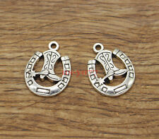 20 Cowboy Charms Cowboy Boot and Horseshoe Charms Antique Silver Tone 18x24 1529