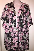 "APT. 9 Women's Floral Lace Ruana Top ""BLACK"" MULTI ONE SIZE Beach New with Tags"