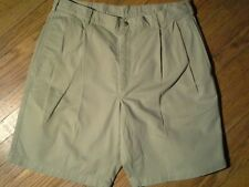 Lands' End Men's Front Pleated Beige 4 Pocket 100% Cotton Twill Shorts -Size 36