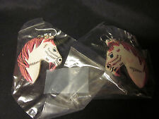 "EARRINGS HANDCRAFTED WHITE UNICORN HORSE PONY HEADS 1"" SILVER WIRES CONTEMPORARY"