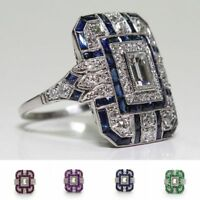 Hot Antique Art Deco Large Jewelry Sapphire & Diamond Ring