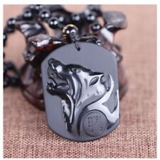 Fashion Charm Black Obsidian Necklace Carving Wolf Head Pendant Men Jewelry