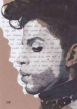 El príncipe retrato firmado Giclée Art Print con Purple Rain Letras-A4 Tamaño