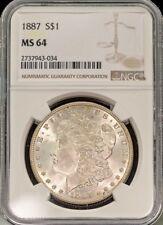 1887 $1 Morgan Silver Dollar NGC MS 64 Nice Strike Free S/H *269