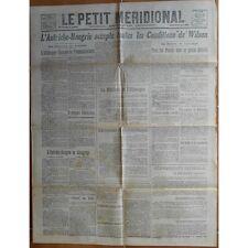 Le PETIT MÉRIDIONAL Lattes Lunel Cette Lodève Clermont-l'Hérault 29 Octobre 1918