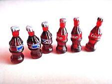 Lot 6 Collectibles Coke Coca-Cola&Pepsi Cola Soda Bottles Miniature Size