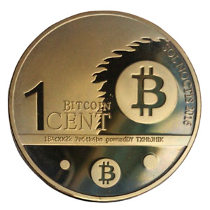 Bitcoin One Cent Gold Plated Physical Commemorative Crypto Coin