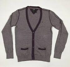 Mens TOMMY HILFIGER DENIM Cardigan Size Small Purple Stripes Cotton