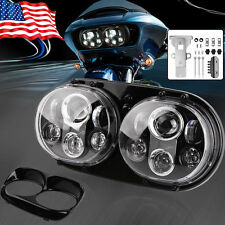 "Black DUAL 5.75"" LED DAYMAKER ROAD GLIDE Light Headlight for Harley + Bezel"
