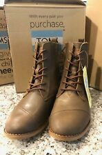 TOMS SHOES Alpa Boot Brown Leather Women's Size 6.5 US NEW