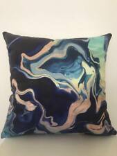 Art Abstract Teal Navy Green Marble Velvet Look Soft Pillow Cushion Cover 45 cm