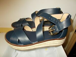 NIB Womens Admiral Navy Michael Kors Leather Darby Espadrille Sandals New