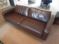 Brown Leather John Lewis Large 4 Seater Sofa in Excellent Condition