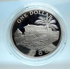 1988 Bermuda UK Elizabeth II Rail Car of Train Palm Silver 1 Dollar Coin i77544