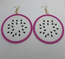 Huge Giant Dragon Fruit Oversized Silicone Rubber Earrings 12.7 Cm Long Pink