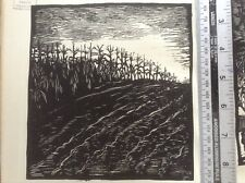1920s Woodcut print, September, by American artist Whatton Esherick