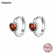 VOROCO Rhodium Plated 925 Sterling Silver Red AAA CZ Love You Huggie Earring