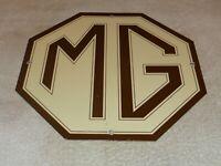 """VINTAGE MG MIDGET CAR TRUCK 11 3/4"""" PORCELAIN METAL BRITISH GASOLINE & OIL SIGN!"""