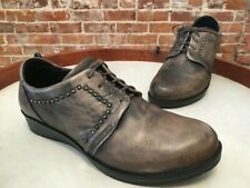 Naot Vintage Grey Leather Embrace Studded Lace up Oxford Shoes 38 7 New