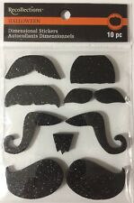 BLACK GLITTER FOAM MUSTACHE Stickers(10pc)Recollections •Halloween•Costume•••