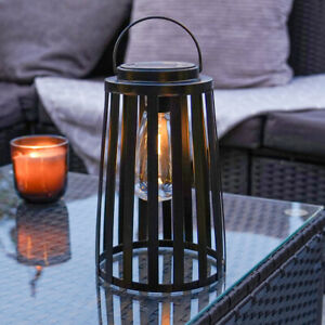 Solar Power Outdoor Cage Filament Style LED Light Up Hanging Lantern | Garden