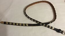 "Womens Handmade Black Leather & Concho Belt 30-34"", 1/2"" Wide"