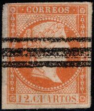 1856.MNG.Ed:(*)NE1aS.Isabel II.12 cuartos naranja.NO EXPEDIDO.BARRADO.PCat:230€