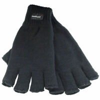 MENS THERMAL THINSULATE KNITTED FINGERLESS GLOVES WINTER WARM WOLLY MITTS COLD