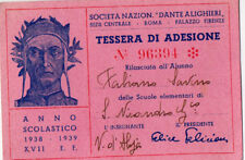 PNF TESSERA SOCIETA NAZIONALE DANTE ALIGHIERI SAN NICANDRO GARGANICO 1938 tss3