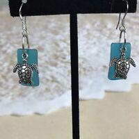 Sea Beach Glass Pebble Dangle Earrings Sea Turtle  Surgical Steel Ear wire