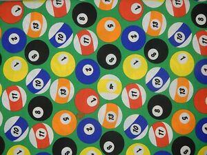 "Vtg MEN's Cotton Quilt Craft Fabric Billiards Balls 50"" x 44"" + Golf Bag Remnant"